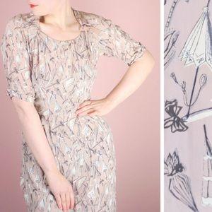 Vintage 1940s Parasol Print Dress